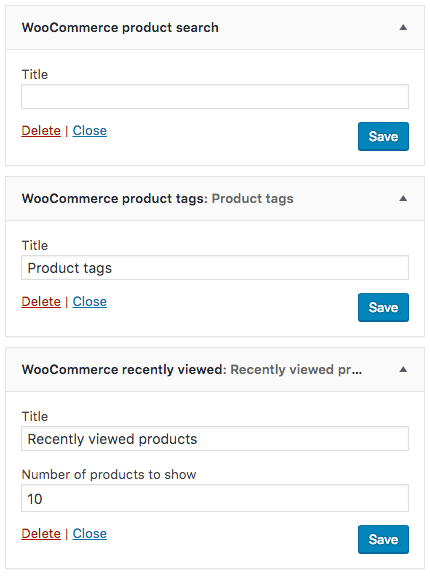 WooCommerce Widget Search Tags Recently Viewed