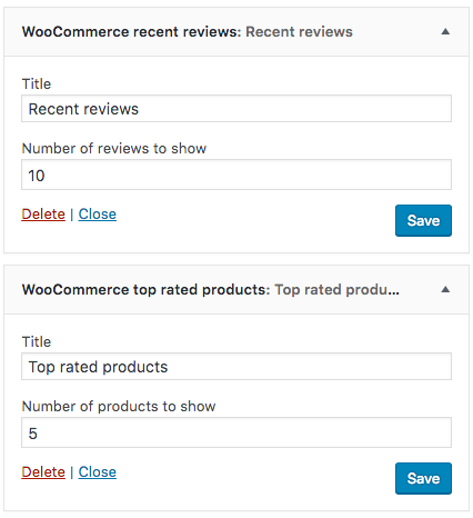 WooCommerce Widgets Recent Reviews Top Rated