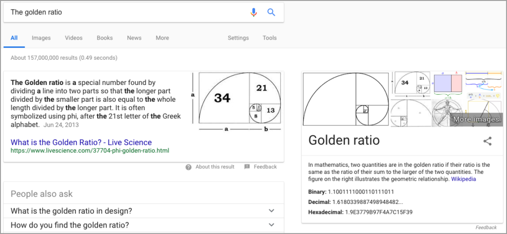 The golden ratio Google Search