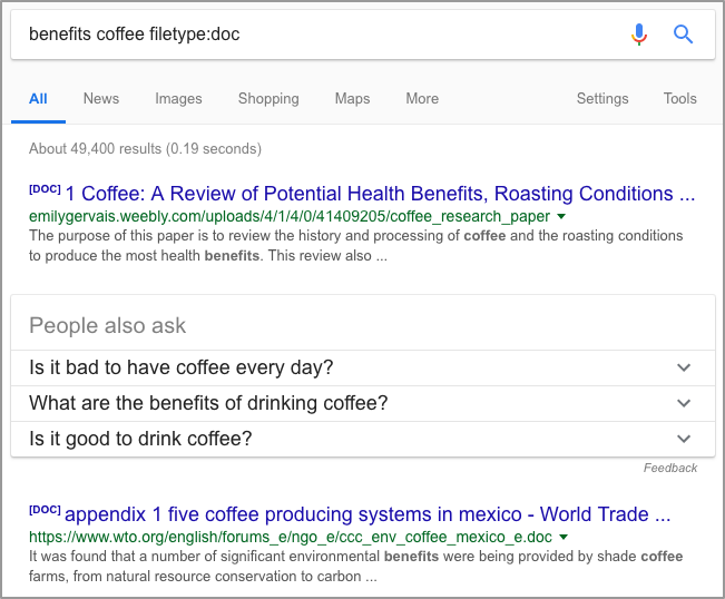 benefits coffee filetype doc Google Search